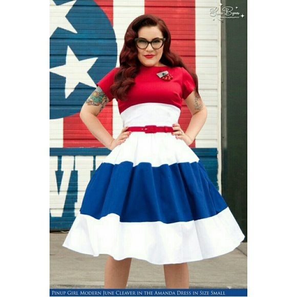 f1ed5829e4fe3 Pinup Couture Dresses | Amanda Dress In Red White And Blue | Poshmark